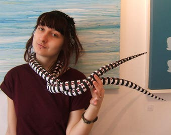Tentacle scarf in black and white stripey cotton, Octopus tentacles, rave, disco , nightclub, sea creature