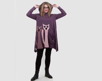 Purple organic cotton hooded tunic/ women hooded tunic/ purple tunic with cats applique/ asymmetric hooded tunic/ fashion tunic/spring tunic