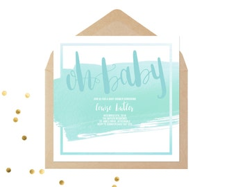Oh Baby - Baby Shower Invitation - Pink - Mint - Printed