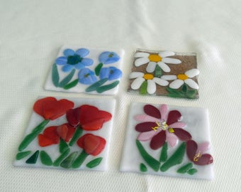 Flower Coasters-Set of 4-Fused Glass Coasters-Glass Coasters-Home Decor-Drink & Barware