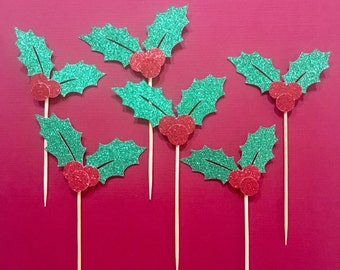 Holly Leaf Cupcake Topper | Christmas Cupcake Toppers | Christmas Party Decoration | Holiday Decor | Holly Leaves Glitter Party Accessories