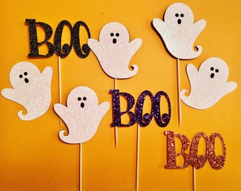Ghost Cupcake Toppers | Boo Cupcake Toppers | Glitter Halloween Cupcake Toppers | Party Cupcake Toppers | Halloween Party Decorations