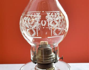 Vintage Clear Glass Oil Lamp With Fancy Chimney/ Oil Lamp with a Queen Anne  # 2 burner