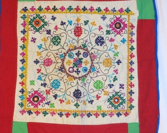 Kutchie Folk Art Hand Embroided Pillow Hanging Panel