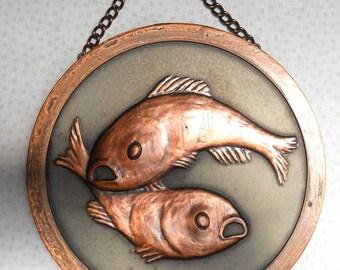 Copper Fish Pisces Zodiac Plate Vintage