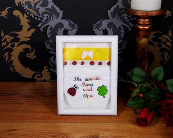 Embroidered diaper gift parents be Grandma & Grandpa
