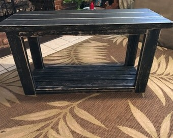 Black Distressed TV Wood Stand/Condole Table