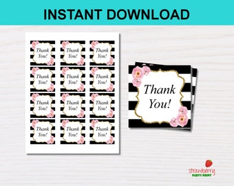 Floral Thank You Tags Stickers, Favor Gift Tags Black & White, Bridal Shower, Baby Shower, Birthday, INSTANT DOWNLOAD Digital Printable, C12