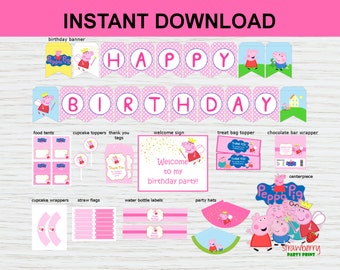 Peppa Pig Party Decoration Printable, Party Package, Peppa Pig Birthday Welcome Sign, Birthday Banner, Cupcake Toppers,  INSTANT DOWNLOAD