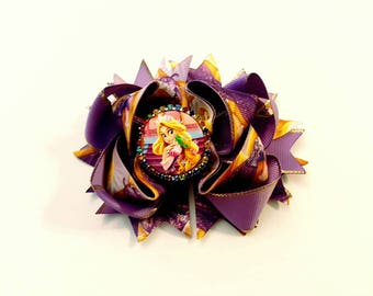 Rapunzel boutique hairbow, tangled hairbow,  handmade hairbow