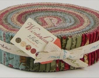 "HONEY BUN - Winterlude by 3 Sisters for Moda Fabrics, #44040HB, Honey Bun, 40 - 1.5"" X 44"" strips, Beautiful Christmas Floral Collection"