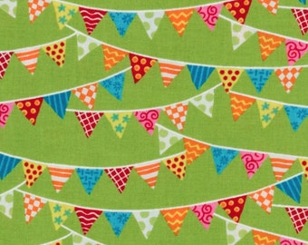 BTHY - Bloomin' Fresh by Deb Strain for Moda, #19663-11 Spring Green Banner, Red, Yellow, Orange, White, Blue Triangle Flags, by HALF YARD