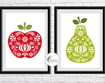 Apple & Pear Prints - Mid Century Fruit Prints - Set of 2 - Kitchen Prints - Retro Fruit Prints - Scandi Style -