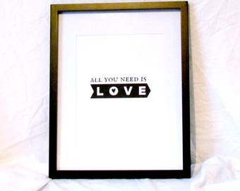 All You Need Is Love Print Wall Art Love Typography Printable Girlfriend Gift Boyfriend Gift Romantic Gift Beatles Lyrics Instant Download
