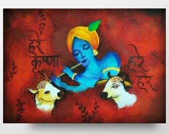 krishna painting, indian wall art, radha krishna, red acrylic, spiritual canvas artwork, hindu decor, god contemporary, pooja altar