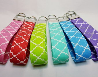 Trellis design Key Fob Wristlet keychain blue green purple red pink turquoise