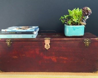 Handmade vintage pine toolbox with original red paint and brass hardware, primitive box, rustic