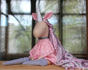 Aurora Unicorn - Handmade Toy- Magic Unicorn-Rainbow Unicorn-Soft Toy- Textile Toy- Gold Unicorn-Unicorn Toy-Unicorn Doll-Unicorn Party