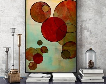 Fine art painting, Abstract Circles, Wall Art, Poster Art, poster art, Circles, 60s art, retro posters, 1960s style, retro style art