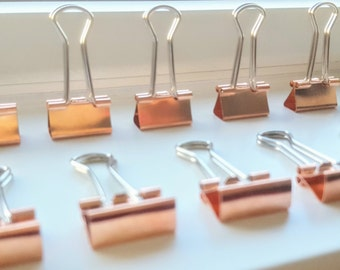 10 x 19mm Rose Gold Copper Binder Clips | Bulldog Clips | Planner Clips | Wedding/Office Stationary