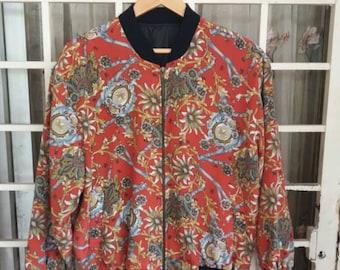 Vintage 80s Boroque pullover jacket floral roots nice natural design/silk design/XL