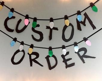 Custom Order, Stranger Things Banner, fairy lights garland, personalised party decor