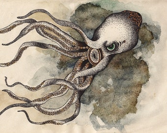Octopus Illustration Art Print 02