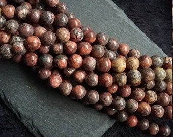 Full Strand of 8.5mm Natural Round Leopard Skin Jasper Beads with 1.2mm Hole
