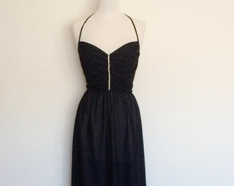 1970s Black Halter Dress Vintage