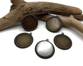 Support cabochon 25 mm - Pack 5/10/15 pieces-pendants - Support cabochon metal bronze - A155