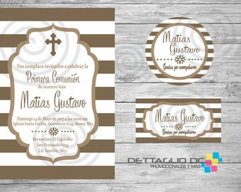 First Communion invitation, child, girl, stripes, Editable Color, tags, printable.