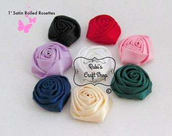 1' Satin Rolled Rosette - Hair Accessories - DIY - Hair Clip - Craft Supplies - Brooch - Shoe Clips -