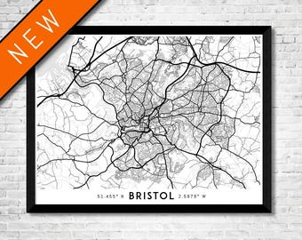 Every Road in Bristol map art | High-res digital England map print | Bristol print | Bristol poster | Bristol art map | Unique gift idea