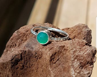 925 Sterling Silber Ring mit Green Onyx