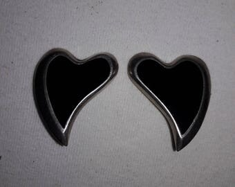 925 Sterling Silver and Black Onyx Heart Vintage Clip Earrings