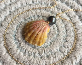 Sweet Little Orange Sunrise Shell with Tahitian Pearl Drop Necklace