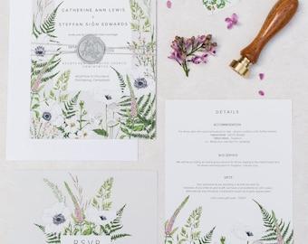 Lewis Wild Meadow - SAMPLE PACK / Digital Download - Semi-custom Botanical Wedding Invitation Suite