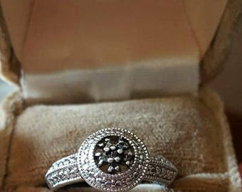 Sterling Silver Ring with Black Diamonds size 8