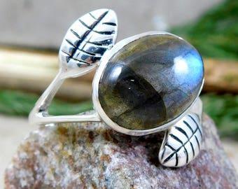 925 Sterling Silver Ring, Labradorite Gemstone Ring, Handmade Designer Ring, Womens Ring, Anniversary Ring, Wedding Ring Jewelry