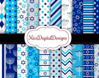 Buy 2 Get 1 Free-20 Digital Papers. Hanukkah Patterns in Blue and Silver (2H no 3) for Personal Use and Small Commercial Use Scrapbooking