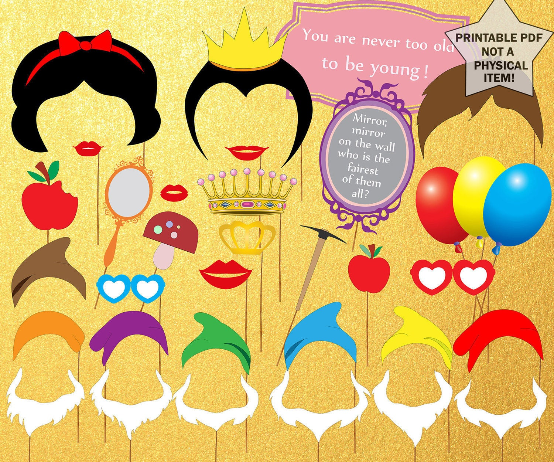 Snow white apron etsy -  Snow White Photo Booth Props Princess Photobooth Props Snow White Party Seven Dwarfs