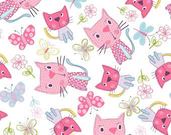 Chi Chi Patches - 11400-WHT White Tossed Kitty - by 3 Wishes Fabric