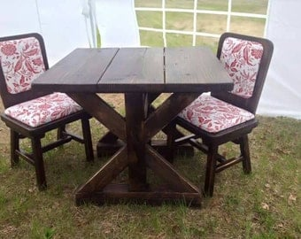 Hand crafted rustic farm table bistro set.