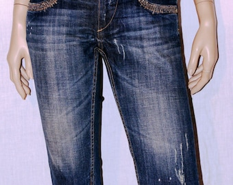 Fracomina, Denim Capris Jeans, Blue Denim Capris Jeans, Embroidered Capris Jeans, Summer Capris Jeans Size XS/S, Blu Capri Jeans,