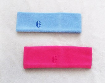 Earwarmer pair, italian headbands, Conte of Florence, pink, blue, Italian headbands, ski headband, earwarmer, vintage ski accesories, pair