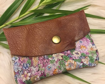 Honey & floral leathercdnap wallet