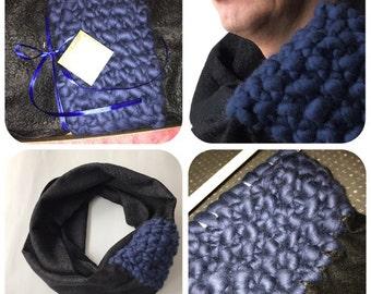 Wool scarf felted shawl neck warmer black navi merino wool striped scarf wool hood wrap knited scarf