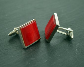DeepRed Crimson Flame Hand Set Cufflinks