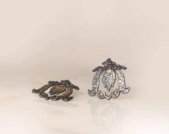 Tulip Earrings, Design Jewellery, Lace ,Electroformed