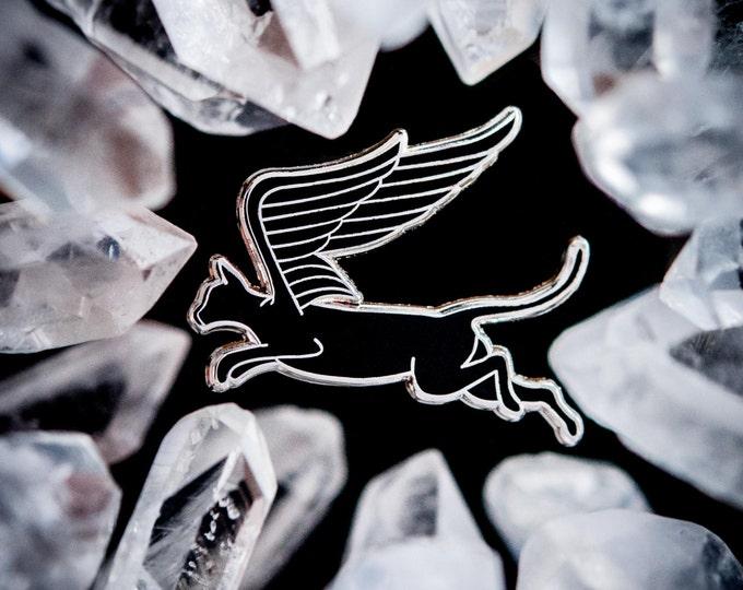 Cat Wings enamel lapel pin